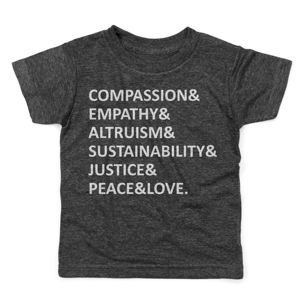 Compassion empathy altruism sustainability justice peace love vegan definition words shirt kids black