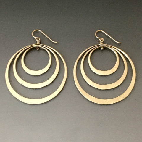 Bronze Elliptical Triple Loop Earrings