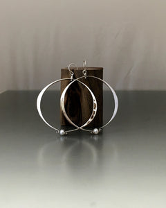 Sterling Silver Large Oval Loop Earrings With Pearl - JACK BOYD ART STUDIO and RON BOYD DESIGNS