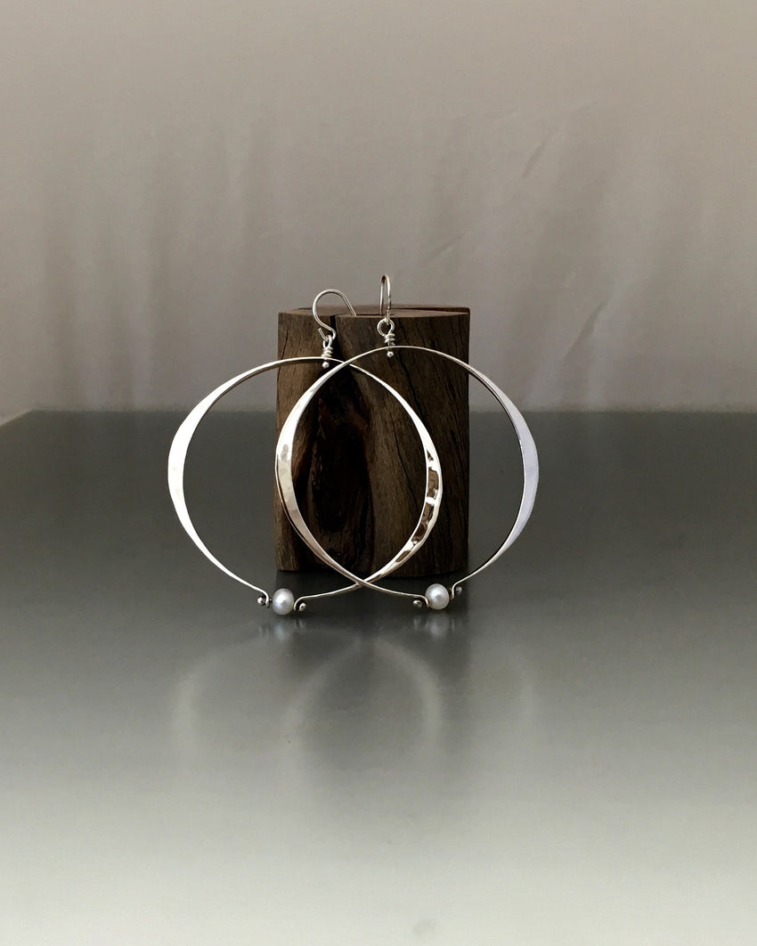 Sterling Silver Large Oval Loop Earrings With Pearl