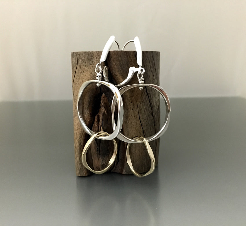 Earrings Sterling Silver and 14k gold
