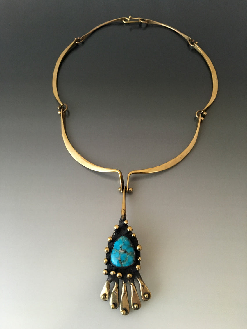 Vintage Bronze and Turquoise Necklace by Jack Boyd 1970's - JACK BOYD ART STUDIO and RON BOYD DESIGNS