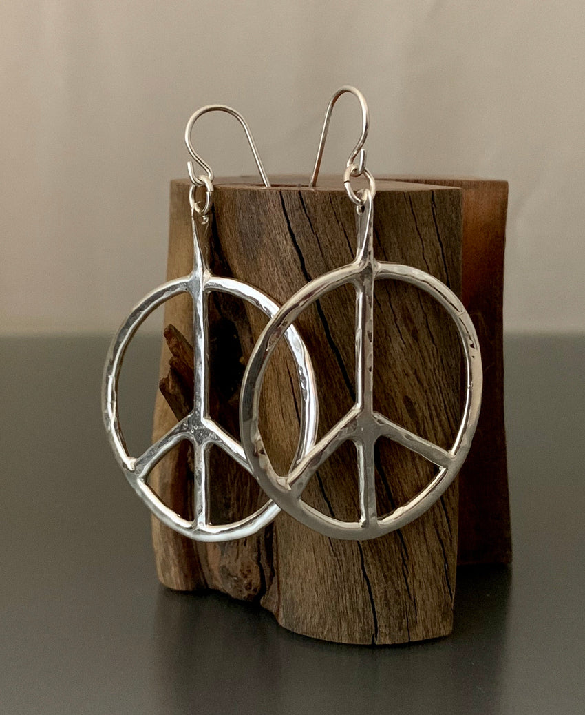 Earrings Sterling Silver Peace Hoops Medium