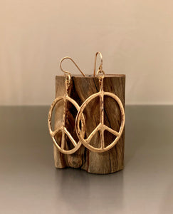 Earrings Bronze Peace Medium Hoops