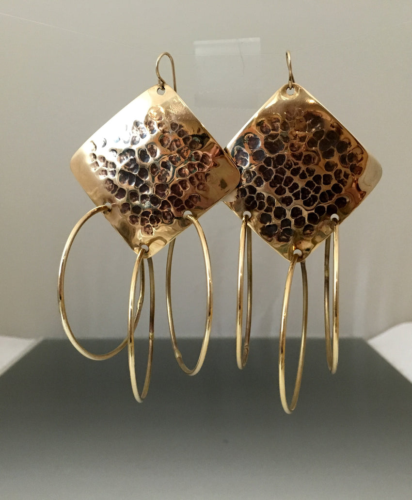 Earrings bronze diamond shape with loops - JACK BOYD ART STUDIO and RON BOYD DESIGNS