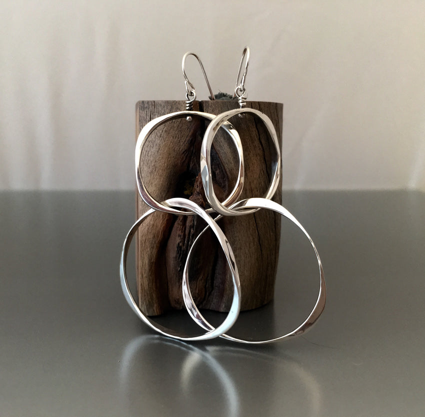 Earrings Sterling Silver double loop