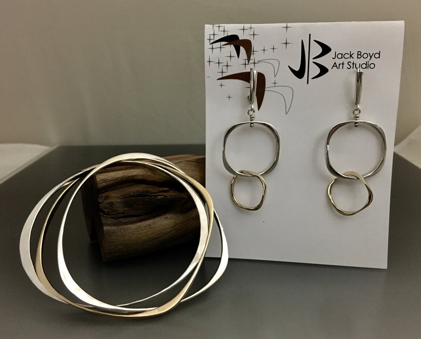 Bracelets and Earrings set of Sterling Silver and 14k Gold