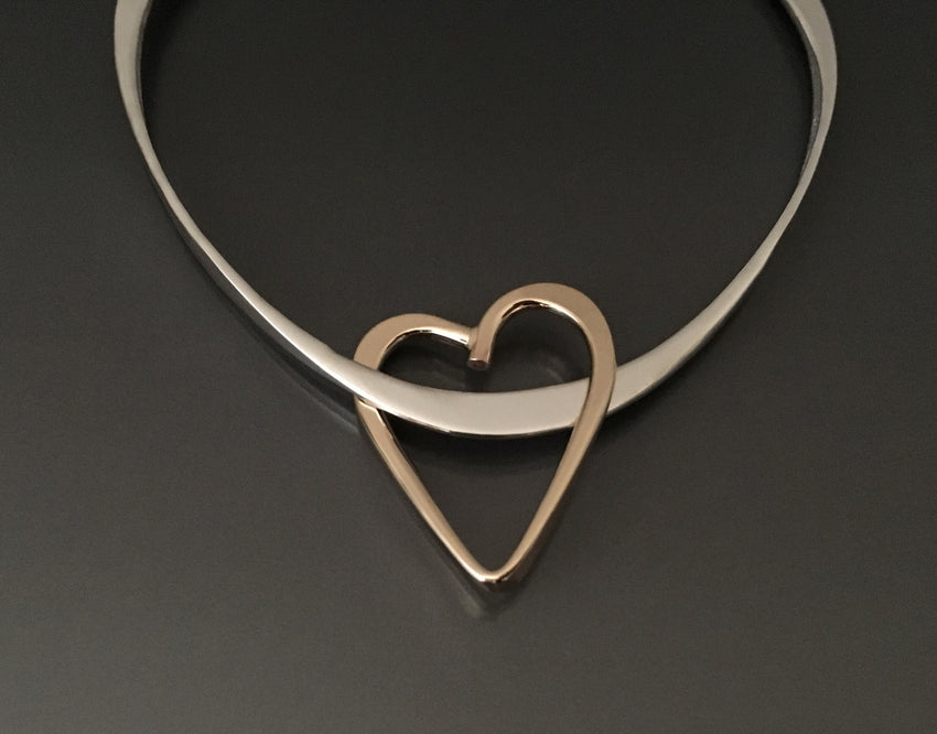 Bracelet Triangle Sterling Silver with 14k gold fill heart charm - JACK BOYD ART STUDIO and RON BOYD DESIGNS