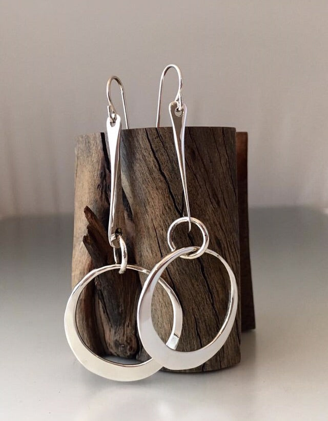 Sterling Silver Dangle Earrings with Small Loop