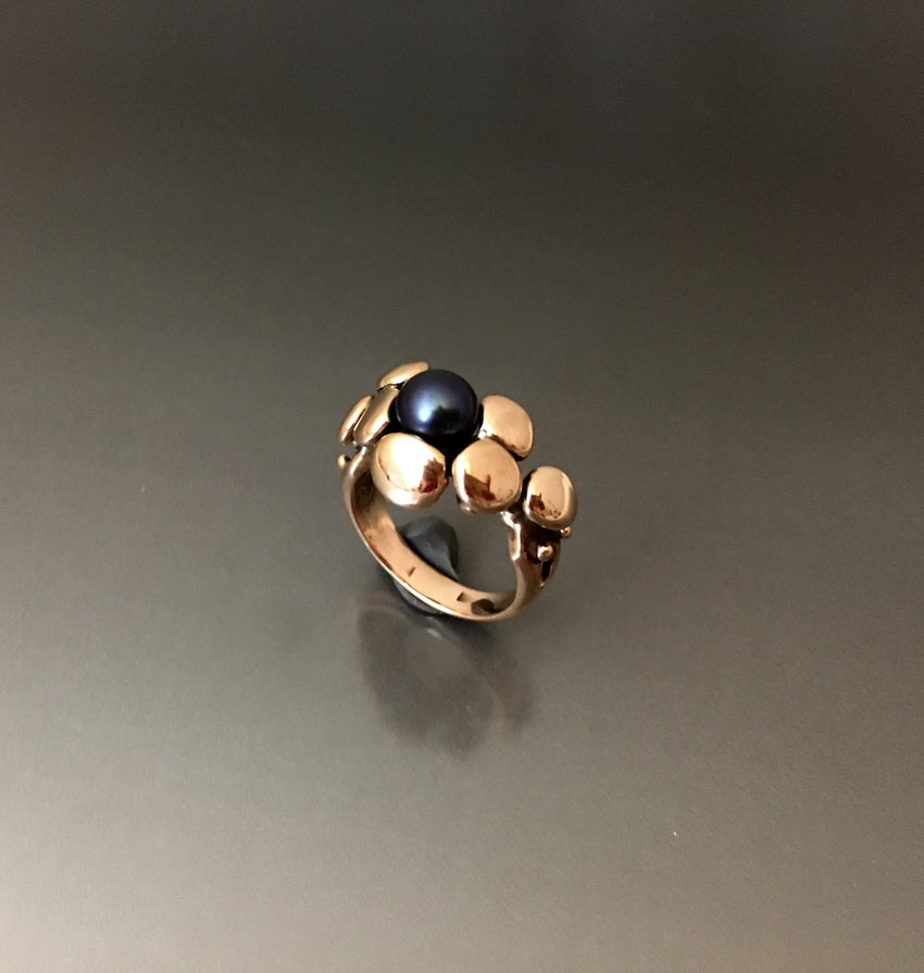 Ring Bubble bronze with pearl - JACK BOYD ART STUDIO and RON BOYD DESIGNS