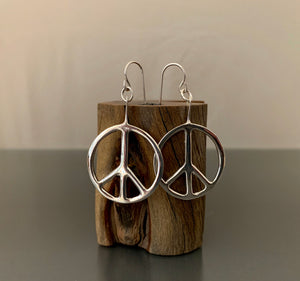 Earrings Sterling Silver Peace Hoop Earrings Small