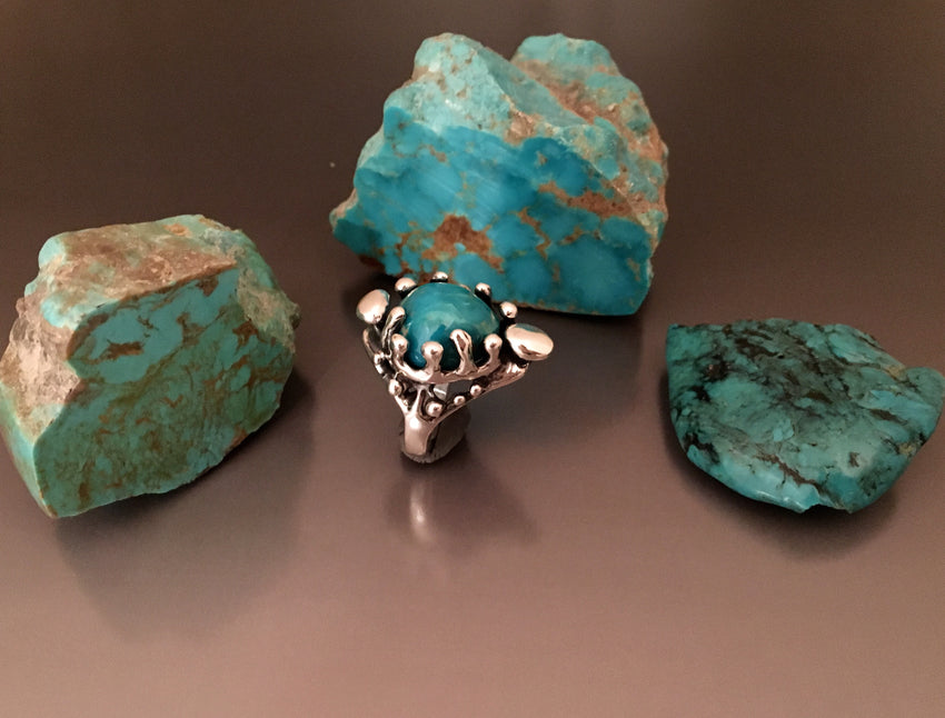 Carved Sterling Silver Ring with Kingman Turquoise