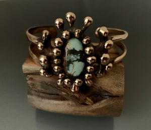 Cuff Bracelet Bronze with Seven Dwarf Turquoise