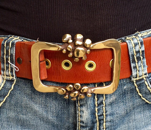 Bronze Belt Buckle with Bubble Accents - JACK BOYD ART STUDIO and RON BOYD DESIGNS