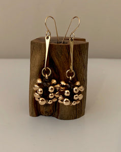 Earrings bronze baubles on forged dangles
