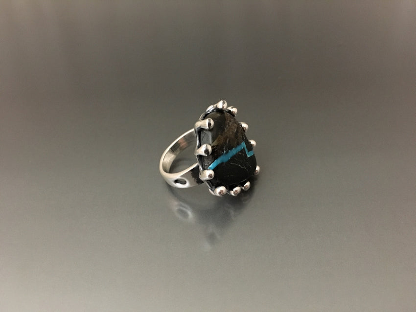 Ring Sterling Silver with Blue Moon Turquoise - JACK BOYD ART STUDIO and RON BOYD DESIGNS