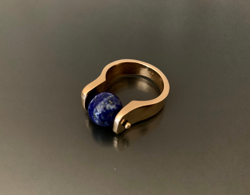 Bronze Ring with Large Lapis Bead