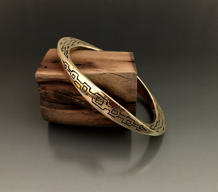 Oval Bronze Large Gauge Etched Bracelet