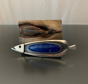 Vintage Fish Pendant Sterling Silver and Lapis