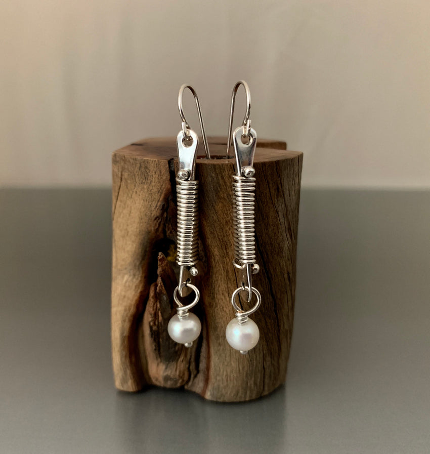 Sterling Silver Dangle Earrings with Elegant Wire Wrap