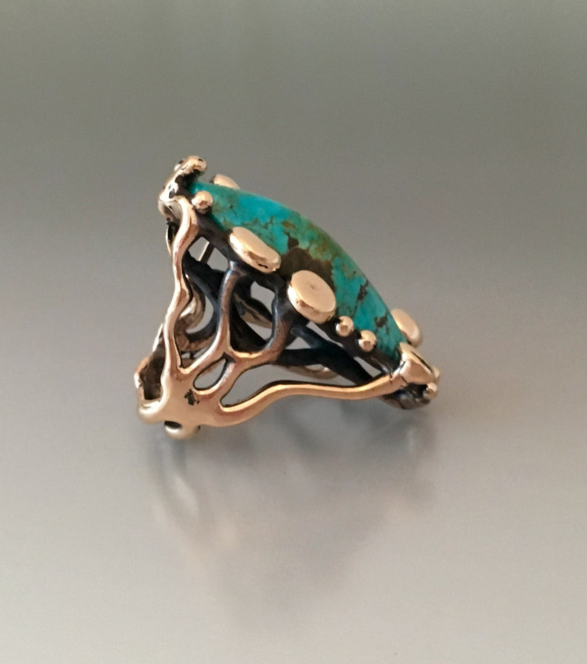 """Allosaurus"" ring bronze with Kingman turquoise"