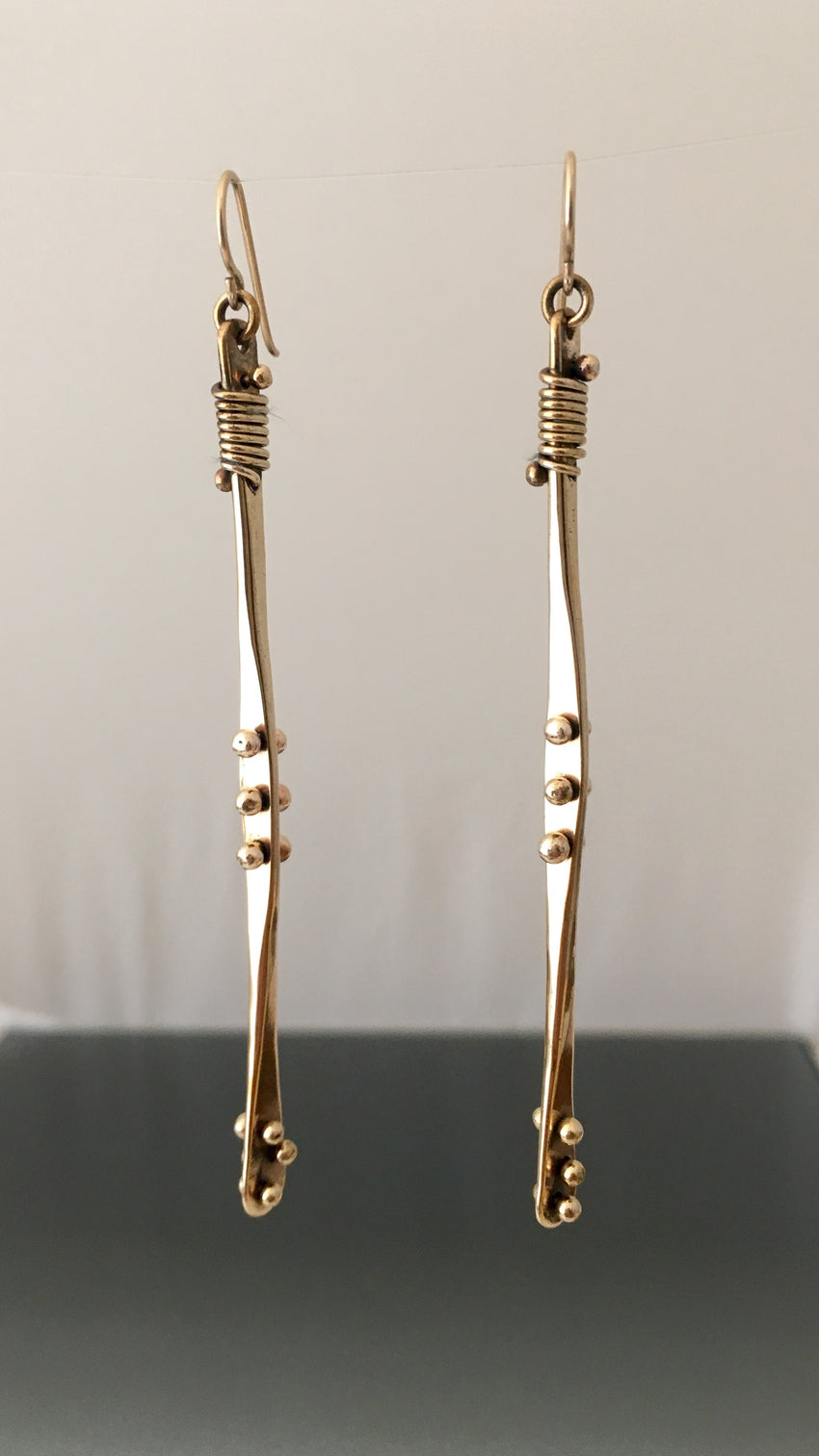 Earrings bronze dangle with peg and wrap - JACK BOYD ART STUDIO and RON BOYD DESIGNS
