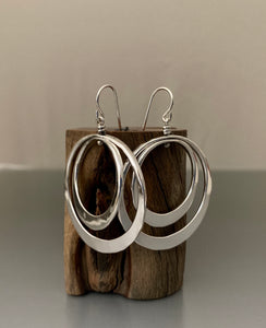 Earrings Sterling Silver Double Loops Medium