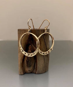 Bronze Loop Earrings with Peg Accent