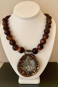 Vintage Abalone Bronze Necklace