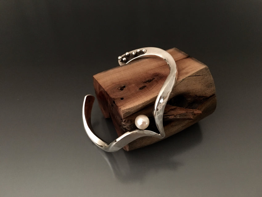 Freeform Sterling Silver Cuff Bracelet with Akoya Pearl