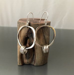Sterling Silver Earrings with silver loops - JACK BOYD ART STUDIO and RON BOYD DESIGNS