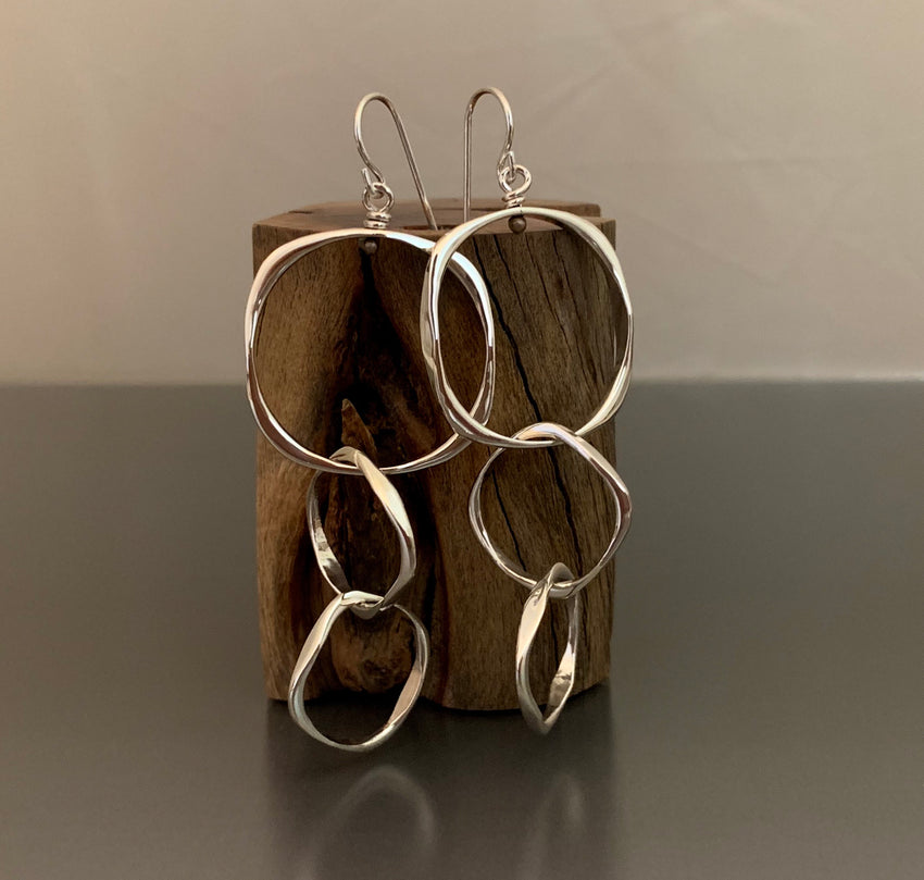 Earrings Sterling Silver Triple Dangles