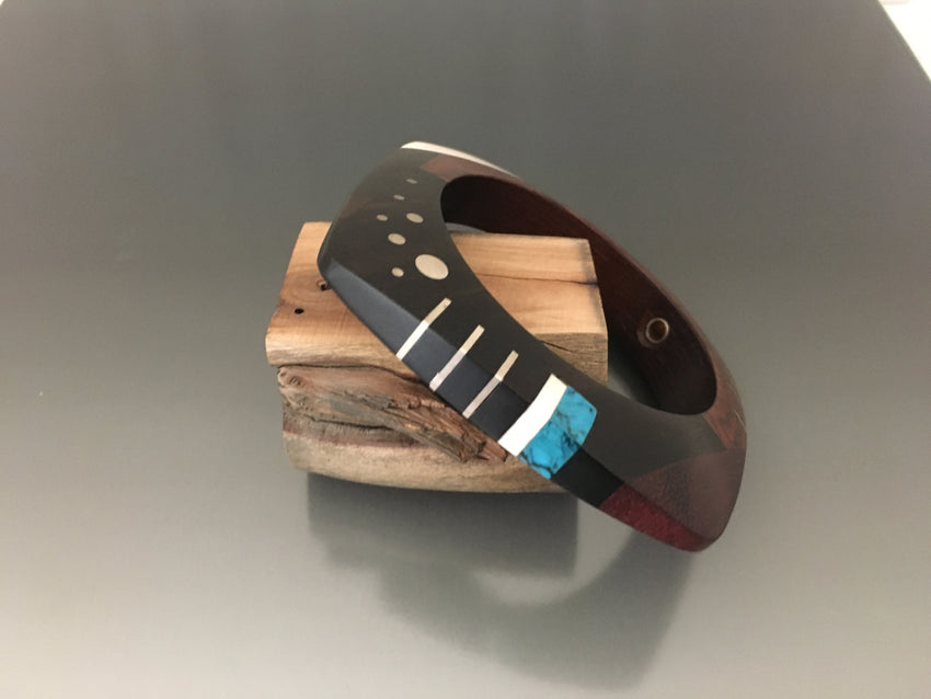 Exotic Wood and Inlay Bracelet - JACK BOYD ART STUDIO and RON BOYD DESIGNS