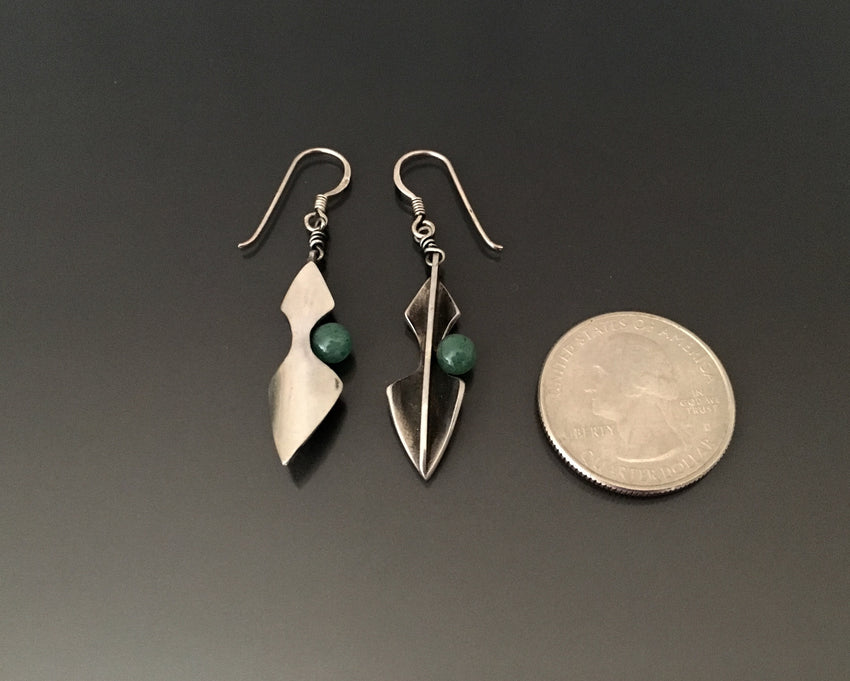 Vintage Earrings Sterling silver with jade - JACK BOYD ART STUDIO and RON BOYD DESIGNS