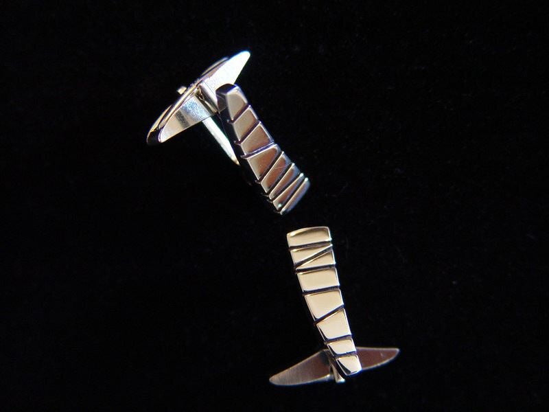 Sterling Silver Cufflinks with Modernist Etched Design