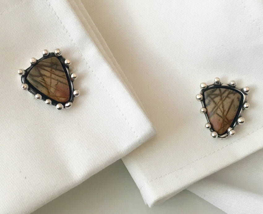 Cufflinks Sterling Silver and Jasper Stones