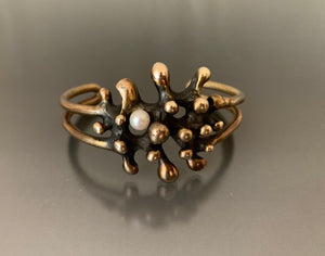 Vintage Bracelet Bronze with Pearl