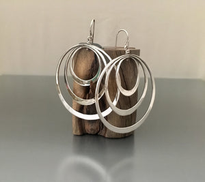 Sterling Silver Elliptical Triple Loop Earrings