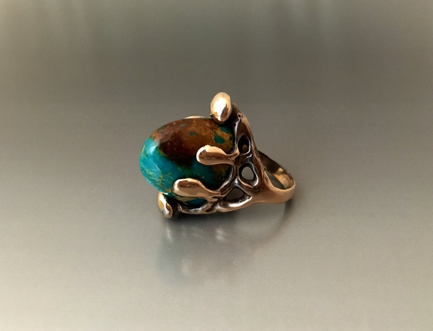 Ring Bronze Claw Turquoise - JACK BOYD ART STUDIO and RON BOYD DESIGNS