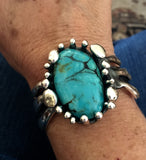 Bracelet Cuff Sterling Silver with Kingman Turquoise - JACK BOYD ART STUDIO and RON BOYD DESIGNS