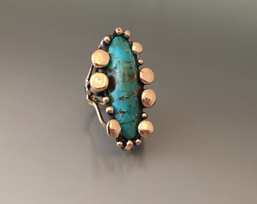 """Allosaurus"" ring bronze with Kingman turquoise - JACK BOYD ART STUDIO and RON BOYD DESIGNS"