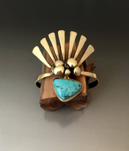 Bracelet fan cuff bronze with turquoise stone - JACK BOYD ART STUDIO and RON BOYD DESIGNS