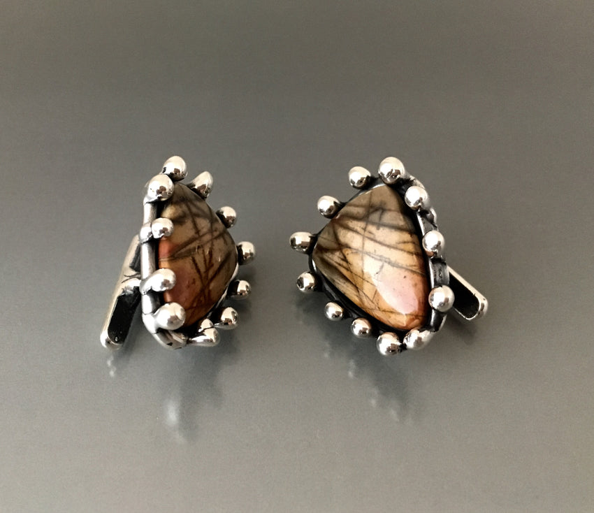 Cufflinks Sterling Silver and Jasper Stones - JACK BOYD ART STUDIO and RON BOYD DESIGNS