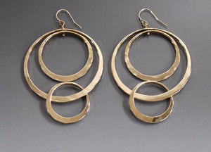 Earrings bronze double loop with smaller loop - JACK BOYD ART STUDIO and RON BOYD DESIGNS