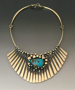 Bronze Turquoise Fan Necklace - JACK BOYD ART STUDIO and RON BOYD DESIGNS