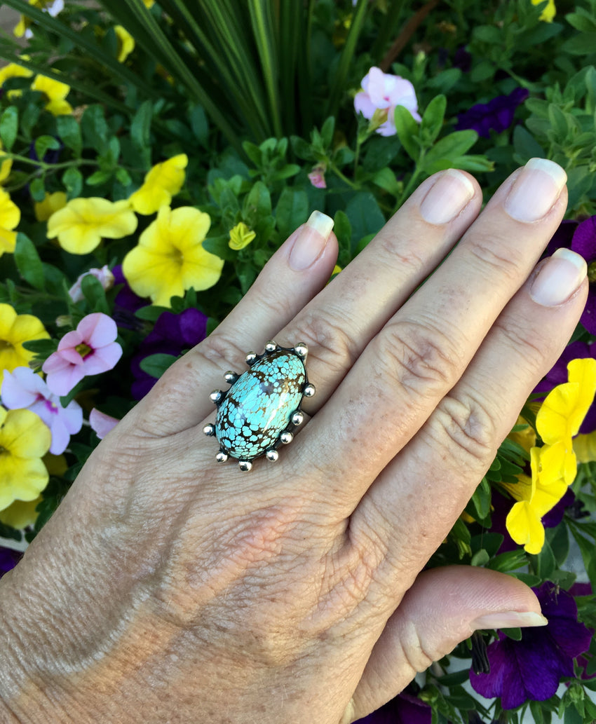 Sterling Silver No 8 Turquoise Ring