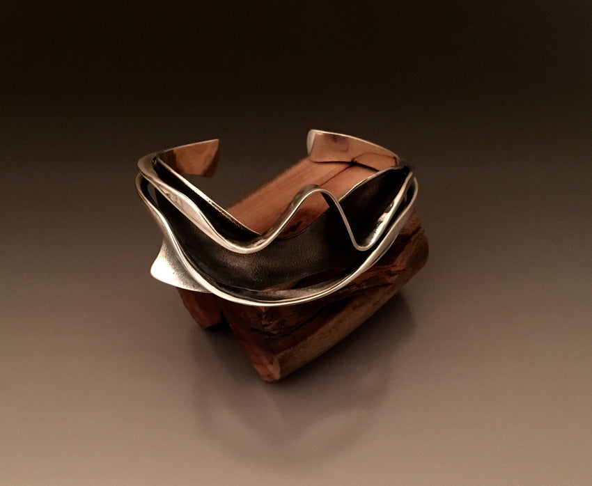 Bracelet Cuff Sterling Silver Ocean Waves - JACK BOYD ART STUDIO and RON BOYD DESIGNS