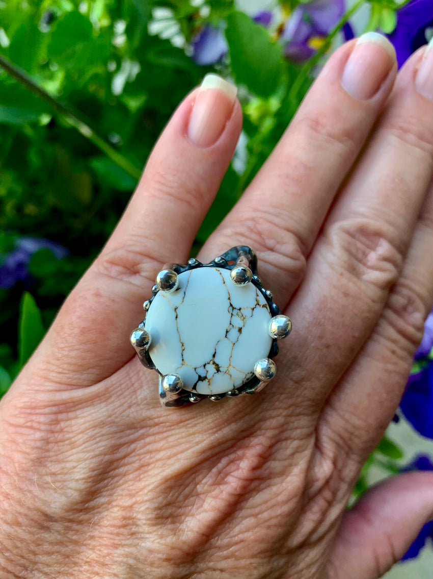 Ring Sterling Silver With White Buffalo Stone