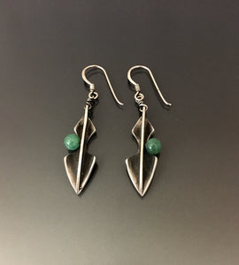 Vintage Earrings Sterling silver with jade