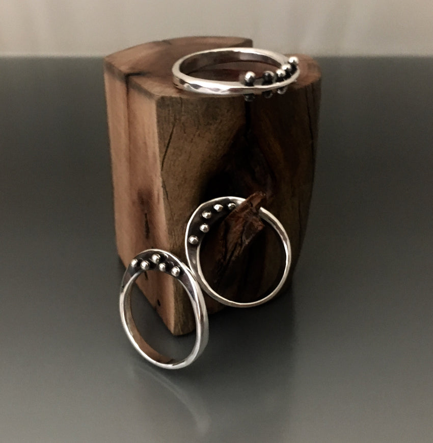 Sterling Silver Ring with Peg Accent